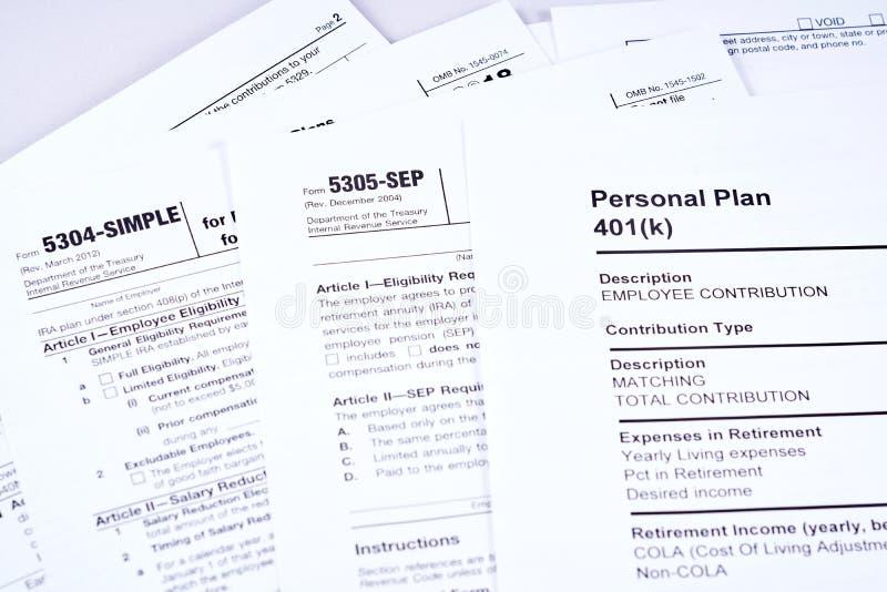 Información del impuesto y plan de retiro imagenes de archivo