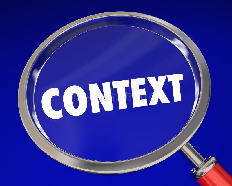 Información del significado de la lupa de la palabra del contexto libre illustration