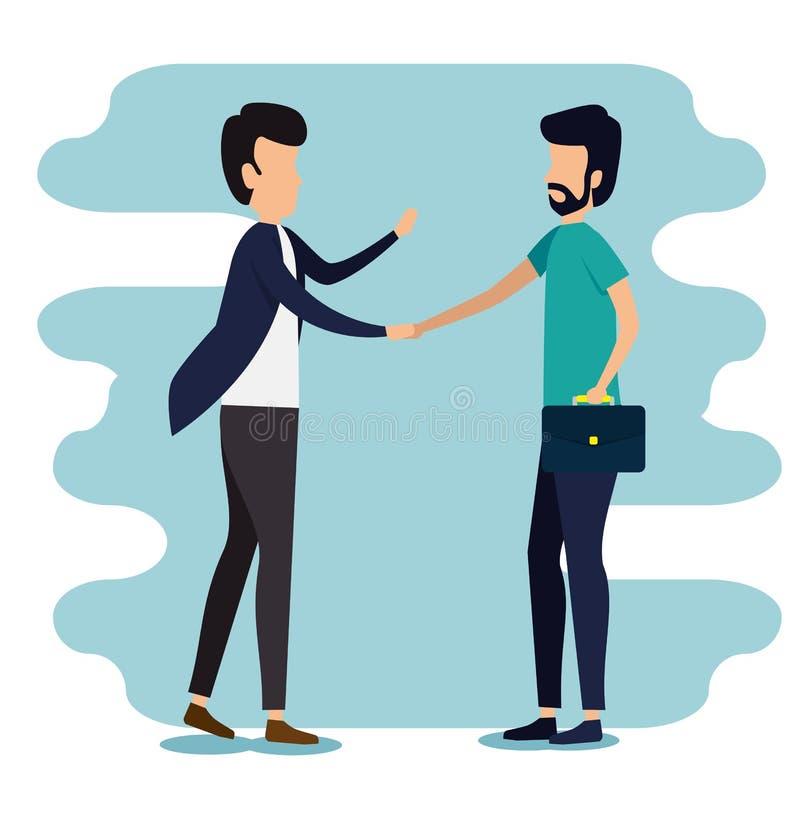 Información del trabajo en equipo del negocio de los hombres con la cartera libre illustration