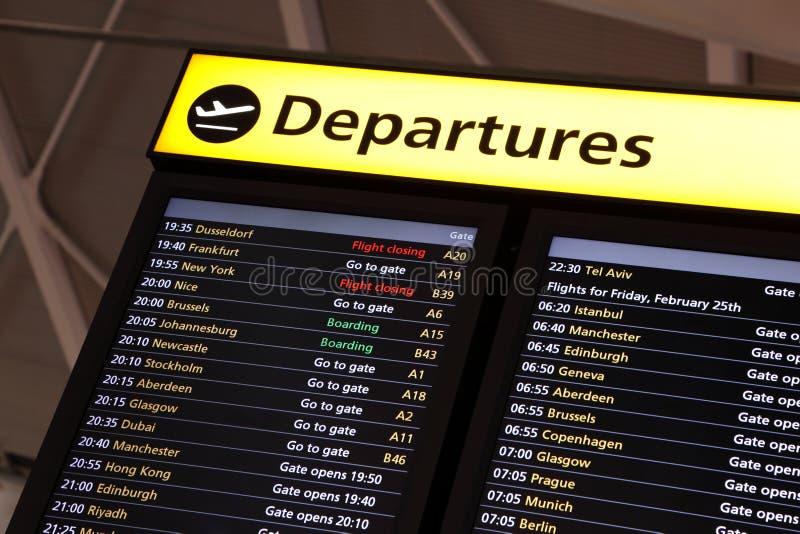 Información del vuelo del aeropuerto foto de archivo
