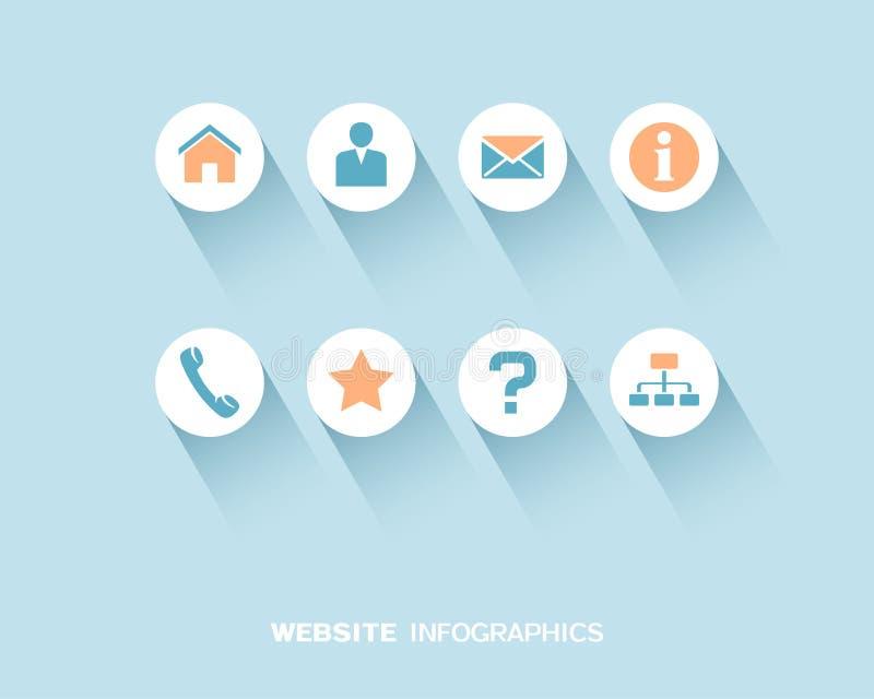 Información-gráfico del sitio web con los iconos planos fijados stock de ilustración