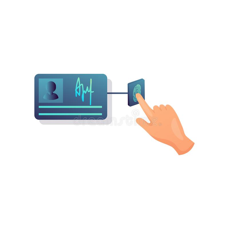 Información personal del documento de identidad del botón del tacto de la seguridad de la huella dactilar ilustración del vector