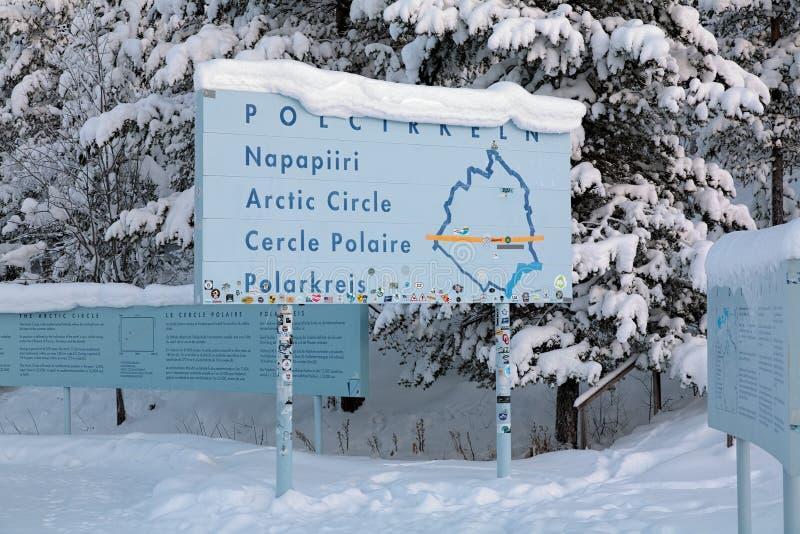 Informaci deska o Arktycznym okręgu, Jokkmokk, Szwecja zdjęcie royalty free