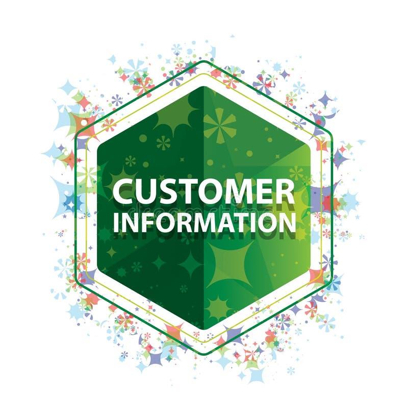 Informacja Dla Klienta rośliien wzoru zieleni sześciokąta kwiecisty guzik obrazy royalty free