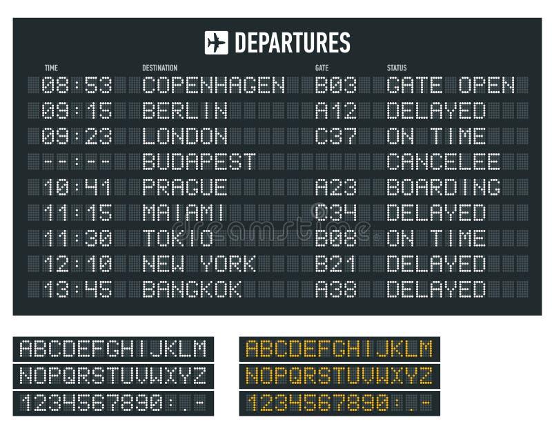 Informacja lot na billboardzie w lotnisku Lotniskowy śmiertelnie przyjazd i wyjściowy rozkład zajęć, informacji deska ilustracja wektor