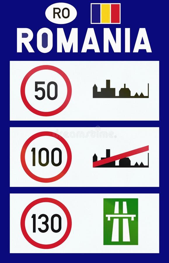 Informacja na prędkości ograniczeniach w Rumunia przy przejściem granicznym ilustracji