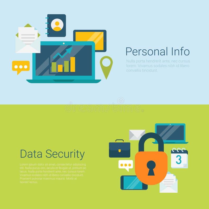 Informacja osobista dane ochrony infographics sieci płaski wektorowy sztandar royalty ilustracja