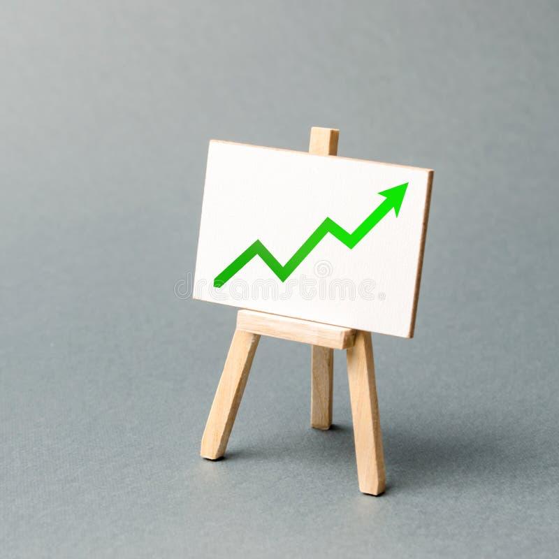 Informacja stojak z zieloną strzałą w górę Korzystnie warunki dla biznesu Inwestorski przyci?ganie Wzrosta bogactwo i zyski obraz royalty free