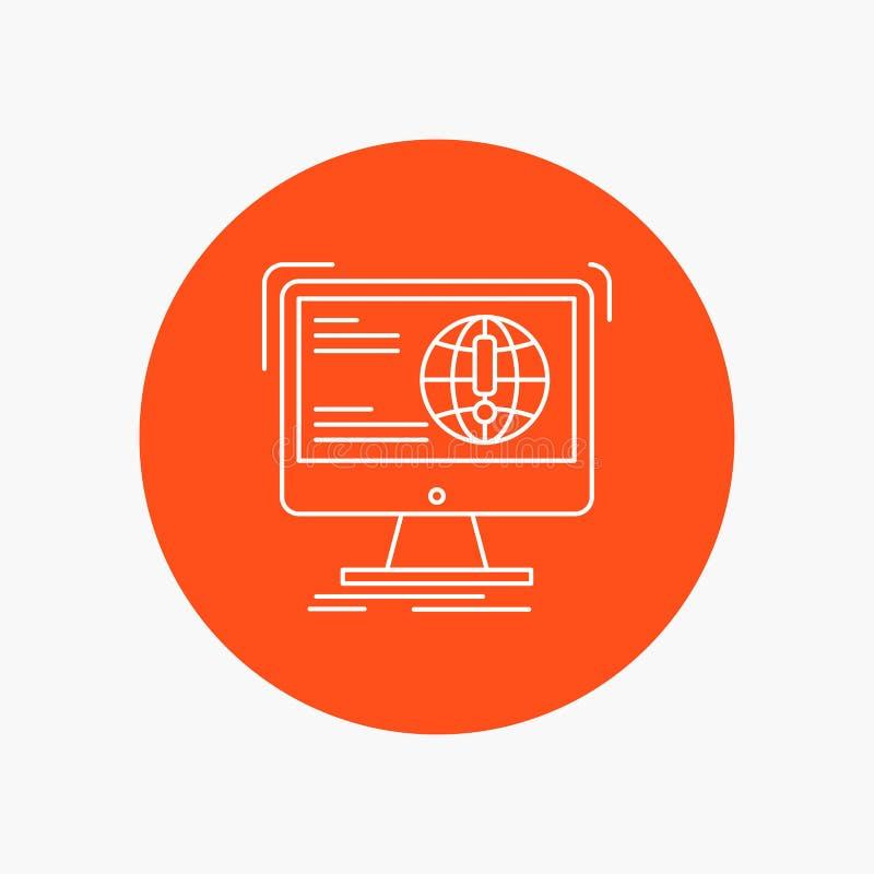 informacja, zawartość, rozwój, strona internetowa, sieci Białej linii ikona w okręgu tle Wektorowa ikony ilustracja ilustracja wektor