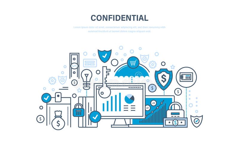informacje poufne Ochrona dane, ochrona finanse, operacje, sekretność ilustracji
