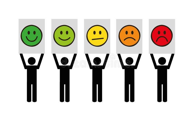 Informacje zwrotne emoticon ratingowy piktogram na białym tle ilustracji