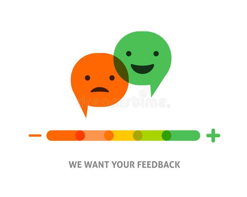 Informacje zwrotne pojęcia projekt, emoticon, emoji i uśmiech, emoci skala ilustracja wektor