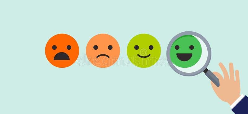 Informacje zwrotne pojęcia projekt, emoticon, emoji i uśmiech, emoticons skala ilustracja wektor