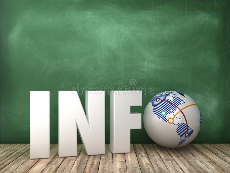 INFORMACJI 3D słowo z kula ziemska światem na Chalkboard tle ilustracji