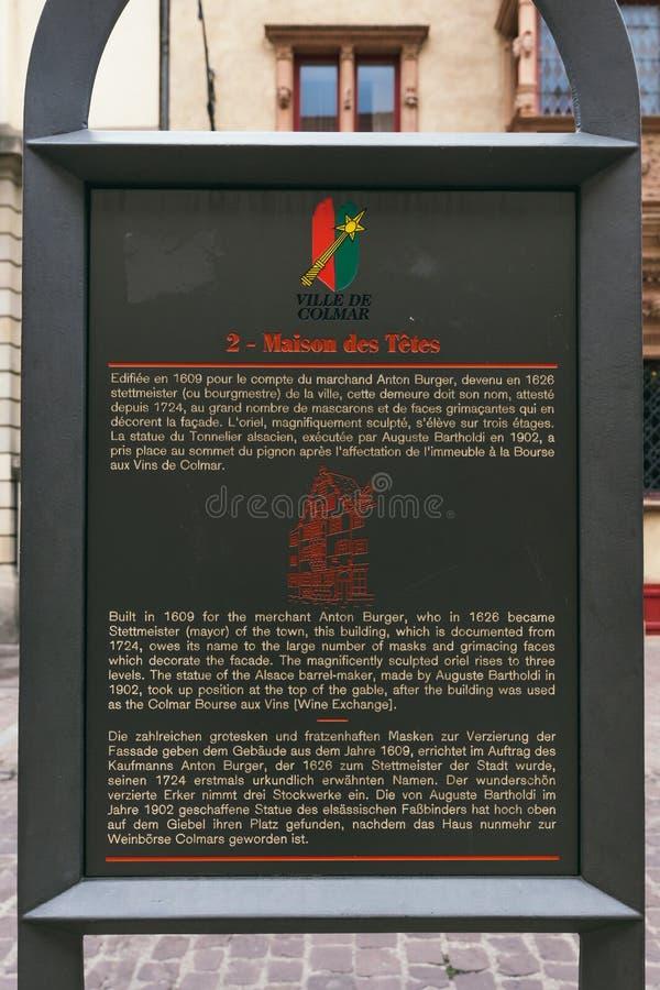 Informacji deska w Colmar obraz royalty free
