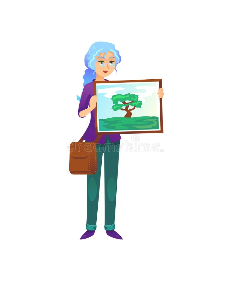 Painter woman showing picture. Informal painter woman standing with picture of nature on white background vector illustration