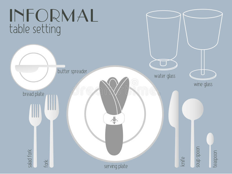 Download INFORMAL TABLE SETTING stock vector. Illustration of crockery - 54626678 & INFORMAL TABLE SETTING stock vector. Illustration of crockery - 54626678