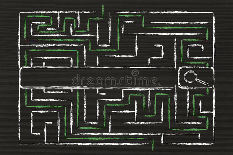Informatie en gegevensoverbelasting, labyrint en zoekmachinebar royalty-vrije stock foto