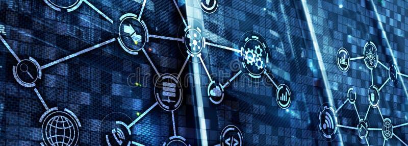 Informatie- en telecommunicatietechnologieconcept Diagrammen met pictogrammen op de achtergronden van de serverruimte royalty-vrije illustratie