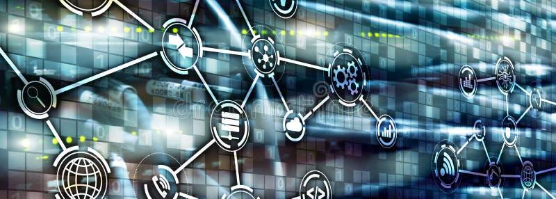 Informatie- en telecommunicatietechnologieconcept Diagrammen met pictogrammen op de achtergronden van de serverruimte stock afbeeldingen