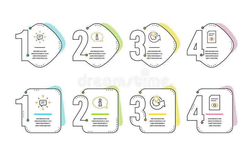 Informatie, geplaatste Aandeelidee en Sms-pictogrammen r Informatiecentrum, Oplossing, Gesprek Open dossier Vector royalty-vrije illustratie