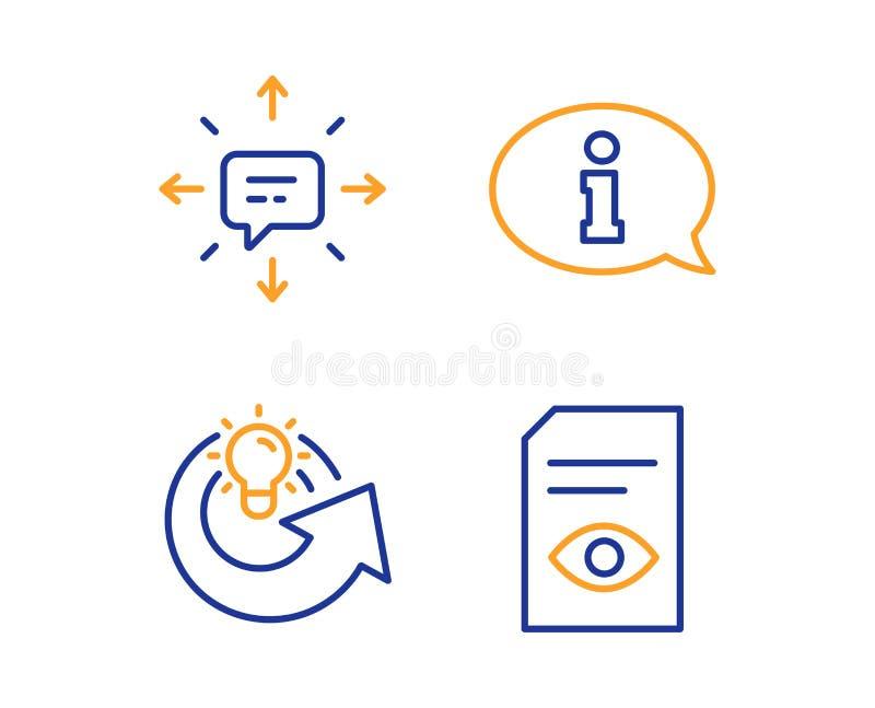 Informatie, geplaatste Aandeelidee en Sms-pictogrammen r Informatiecentrum, Oplossing, Gesprek Open dossier Vector stock illustratie