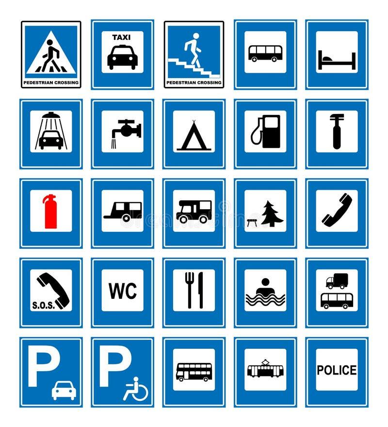 Informatie geplaatste weg blauwe symbolen Vectordieillustratie op wit wordt geïsoleerd Verplichte tekens Klaar om verkeersbanner  royalty-vrije illustratie