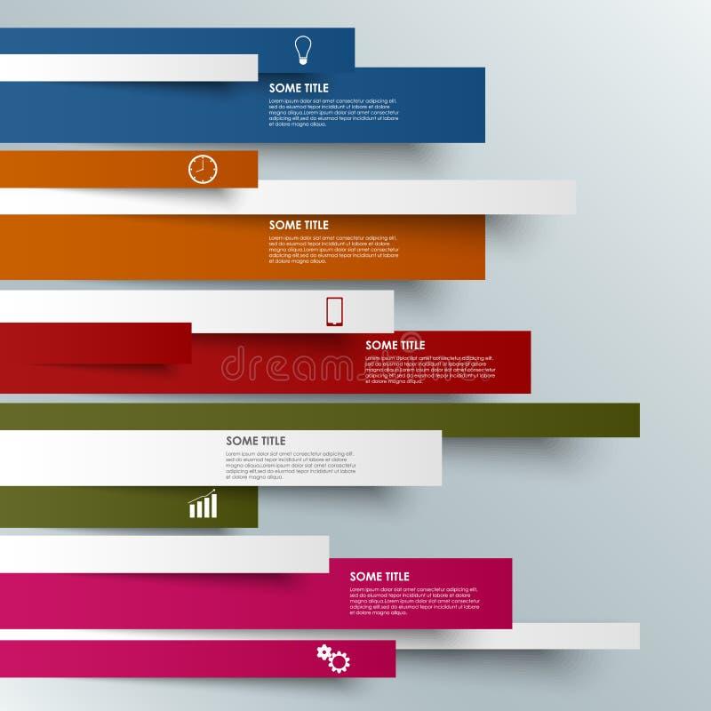Informatie grafisch gekleurd gestreept modern malplaatje stock illustratie