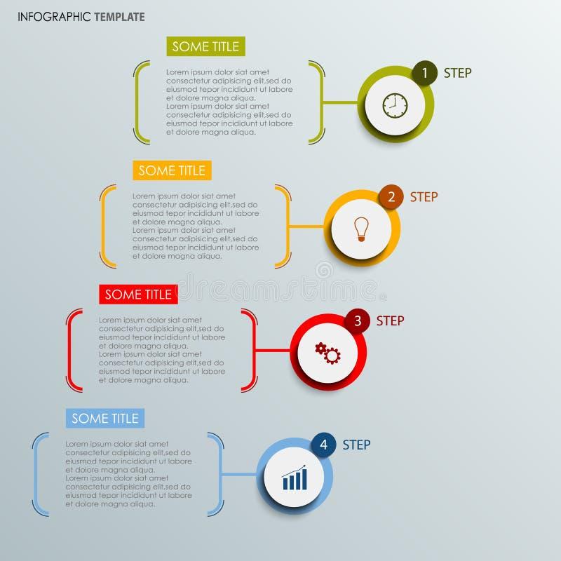 Informatie grafisch met abstract rond etikettenmalplaatje vector illustratie