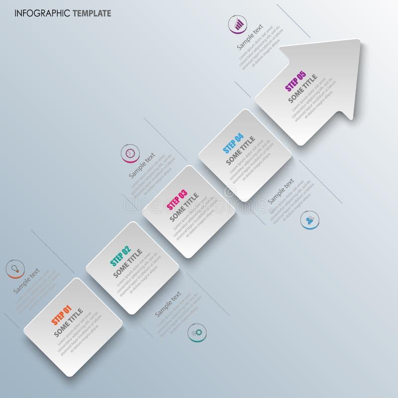 Informatie grafisch met abstracte pijl in wit ontwerp stock illustratie