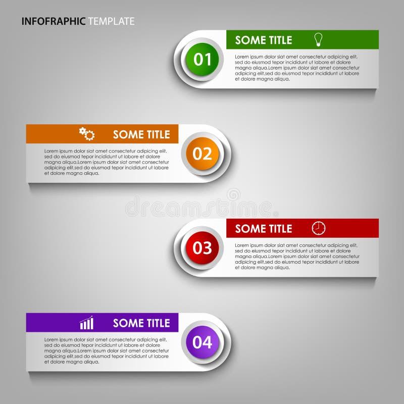 Informatie grafisch met het kleurrijke malplaatje van het etikettenontwerp vector illustratie