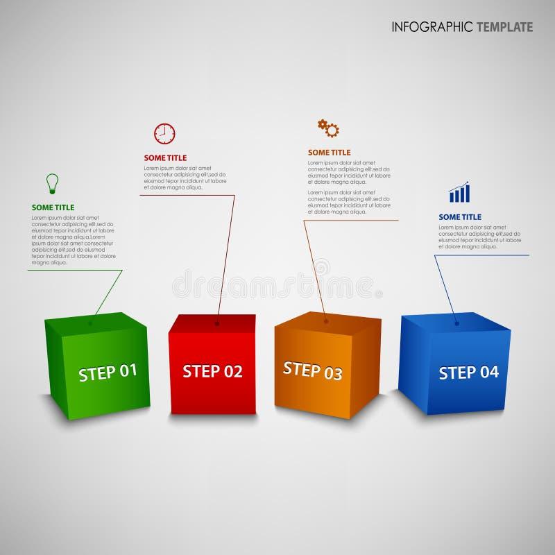 Informatie grafisch met kleurrijk 3D kubussenmalplaatje stock illustratie