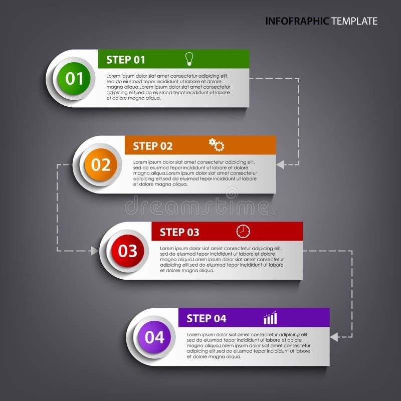 Informatie grafisch met kleurrijk het ontwerpmalplaatje van markeringenetiketten stock illustratie