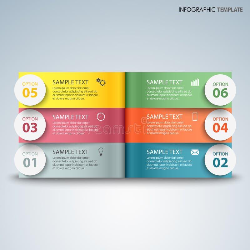Informatie grafisch met kleurrijke pagina's boven een ander malplaatje royalty-vrije illustratie