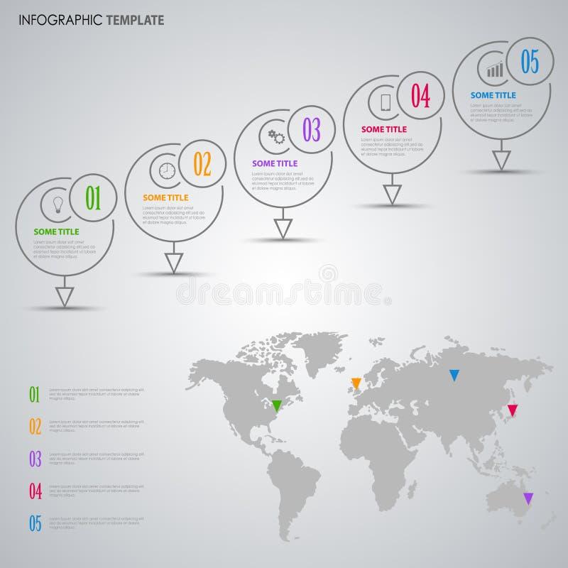 Informatie grafisch met ontwerpindicatoren en het malplaatje van de wereldkaart royalty-vrije illustratie
