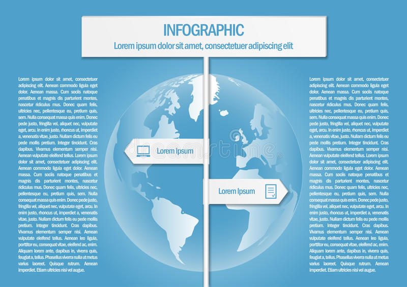 Informatie grafisch met wereldkaart en 2 tekenpijlen vector illustratie