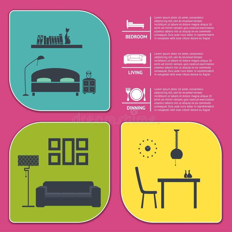 Informatie grafisch van huis binnenlandse vectorbanners stock illustratie