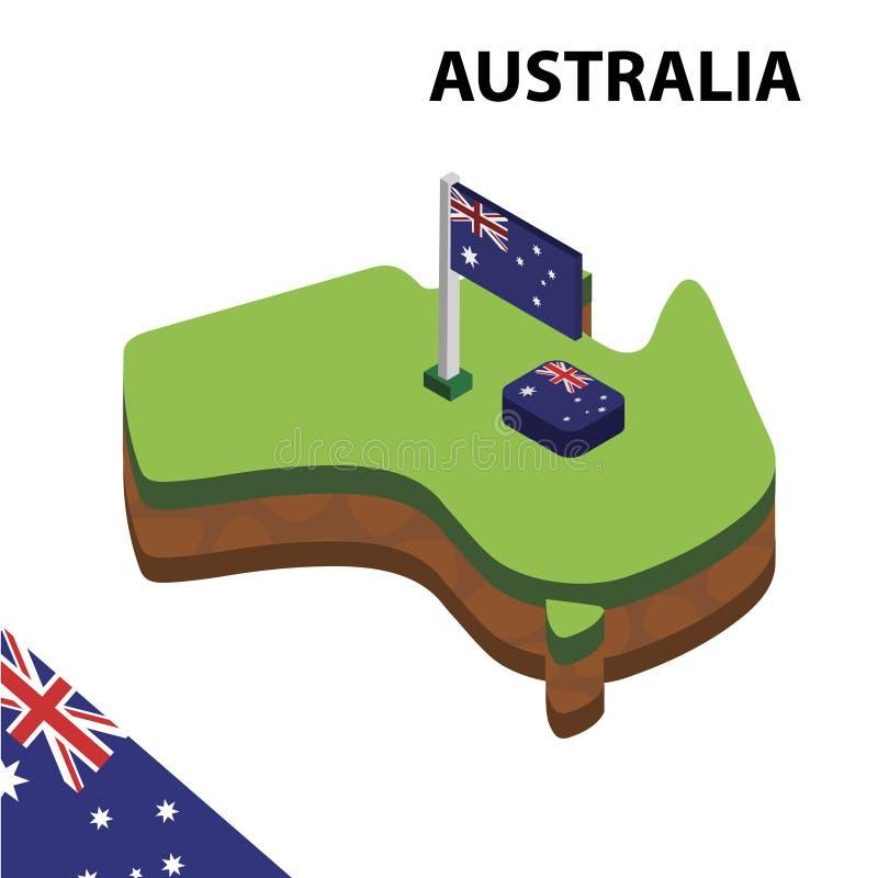 Informatie grafische Isometrische kaart en vlag van Australië 3d isometrische vectorillustratie royalty-vrije illustratie
