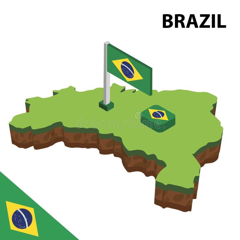 Informatie grafische Isometrische kaart en vlag van BRAZILIË 3d isometrische vectorillustratie royalty-vrije illustratie
