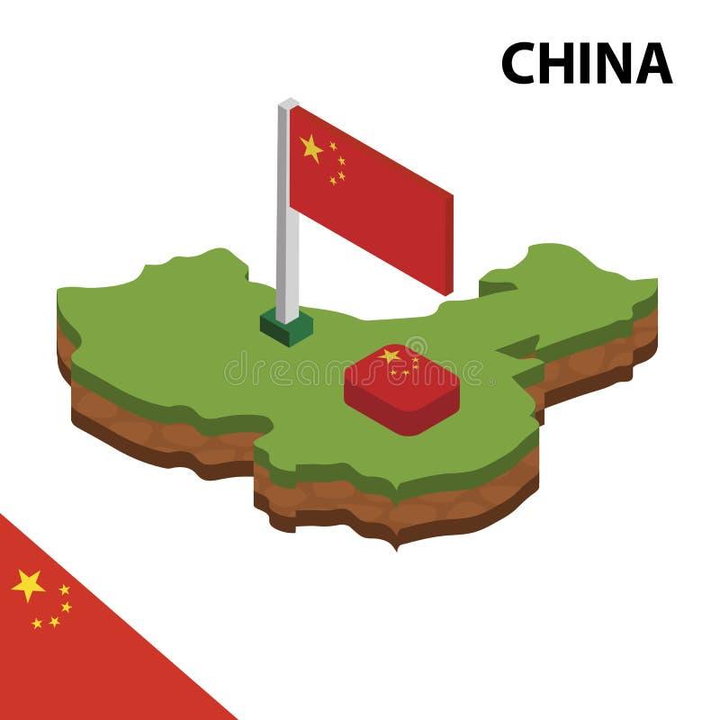 Informatie grafische Isometrische kaart en vlag van CHINA 3d isometrische vectorillustratie stock illustratie