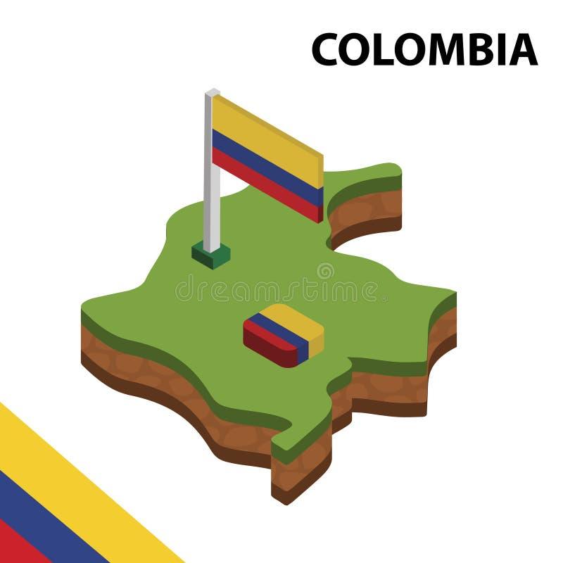 Informatie grafische Isometrische kaart en vlag van COLOMBIA 3d isometrische vectorillustratie royalty-vrije illustratie