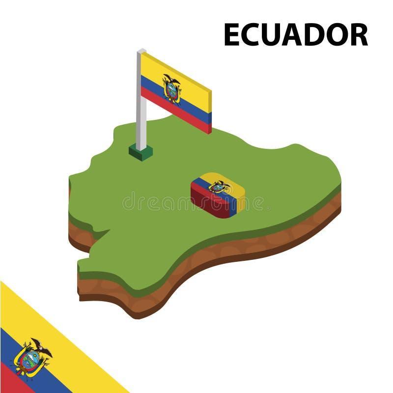 Informatie grafische Isometrische kaart en vlag van ECUADOR 3d isometrische vectorillustratie royalty-vrije illustratie