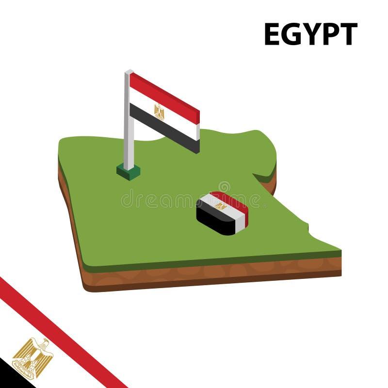 Informatie grafische Isometrische kaart en vlag van EGYPTE 3d isometrische vectorillustratie vector illustratie
