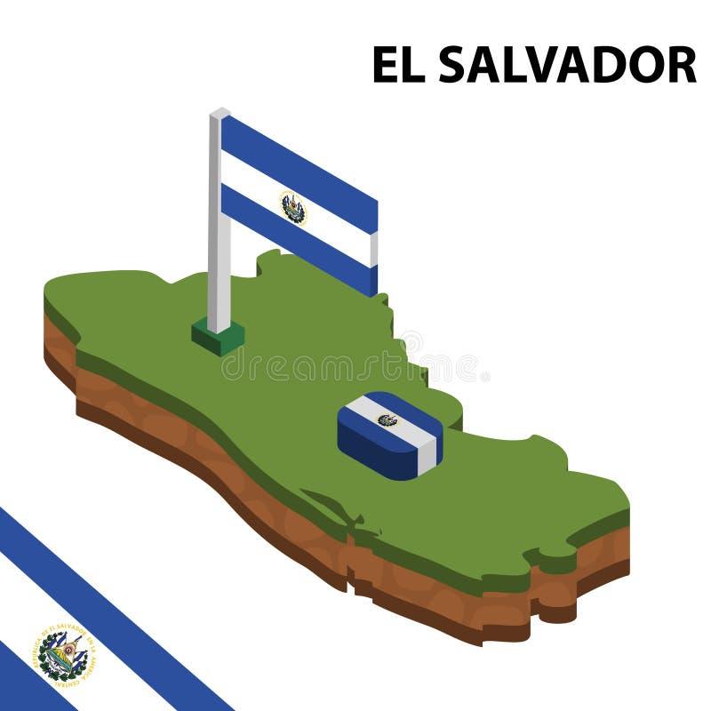 Informatie grafische Isometrische kaart en vlag van EL SALVADOR 3d isometrische vectorillustratie stock illustratie