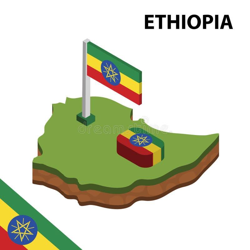 Informatie grafische Isometrische kaart en vlag van ETHIOPIË 3d isometrische vectorillustratie royalty-vrije illustratie