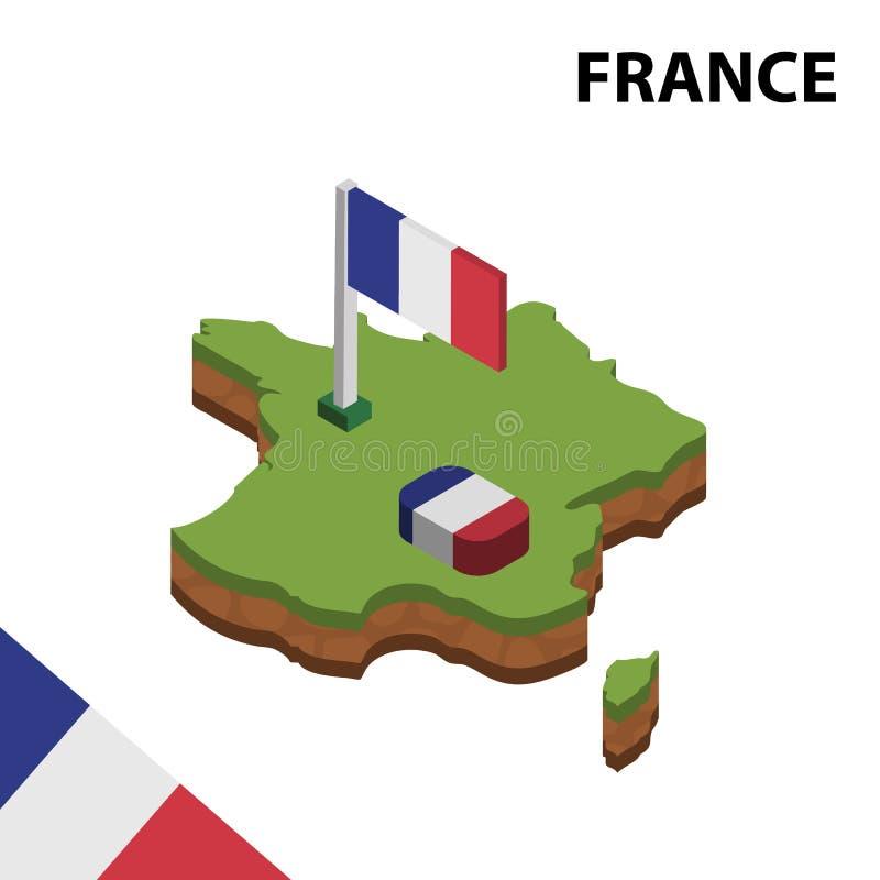 Informatie grafische Isometrische kaart en vlag van FRANKRIJK 3d isometrische vectorillustratie vector illustratie