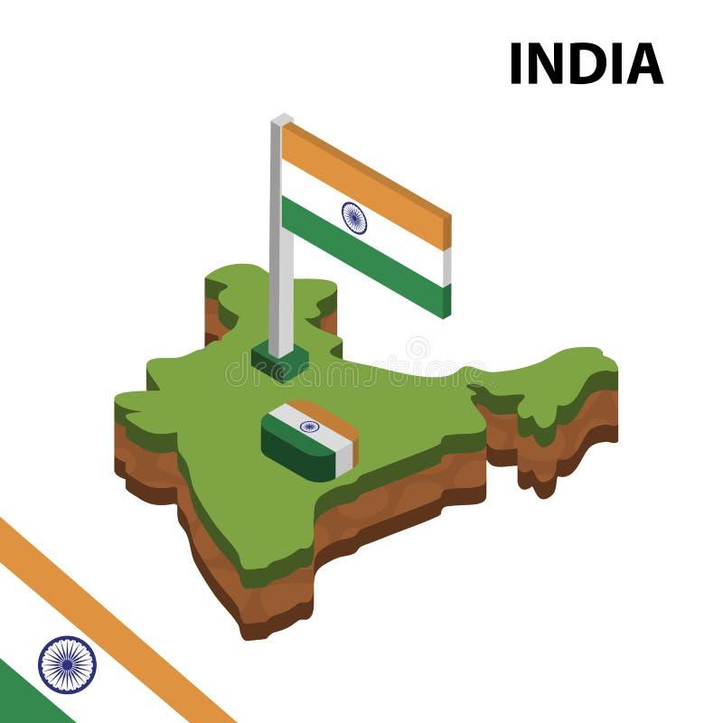Informatie grafische Isometrische kaart en vlag van INDIA 3d isometrische vectorillustratie royalty-vrije illustratie