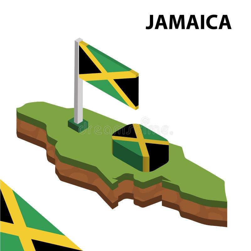 Informatie grafische Isometrische kaart en vlag van JAMA?CA 3d isometrische vectorillustratie royalty-vrije illustratie