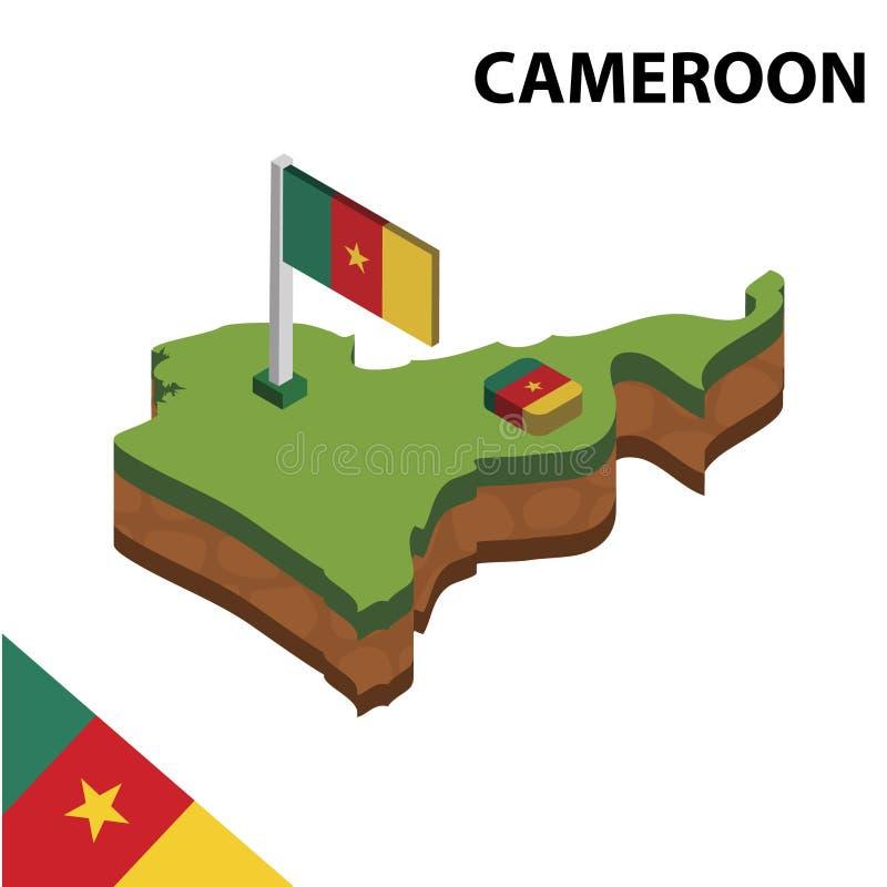 Informatie grafische Isometrische kaart en vlag van KAMEROEN 3d isometrische vectorillustratie vector illustratie