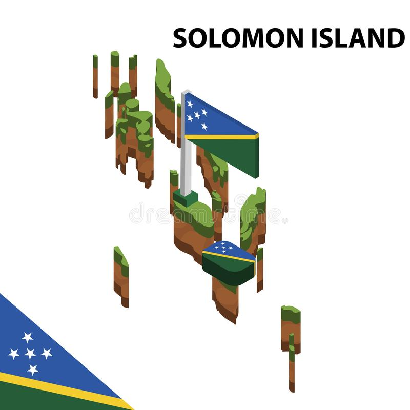 Informatie grafische Isometrische kaart en vlag van SOLOMON-EILAND 3d isometrische vectorillustratie vector illustratie